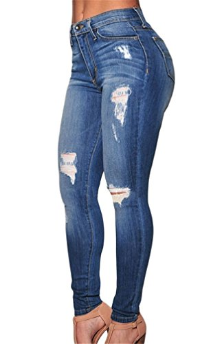 Nicetage Women High Waist Hippie Skinny Extreme Ripped Jeans Stress Slim Pants Casual Denim Trousers