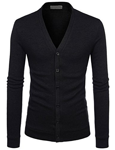 NEARKIN (NKNKCAC1) Mens Knitwear City Casual Slim Cut Long Sleeve Cardigan Sweaters BLACK UK M(Tag size M)
