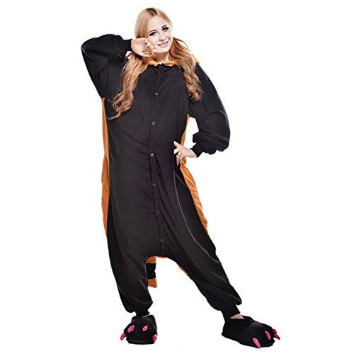 LSERVER Adulte Unisexe Animal Costume Cosplay Combinaison Pyjama Kigurumi Tenue en Flanelle Halloween Soiree de Deguisement, Raton Laveur, M (Fit For 158-165cm)