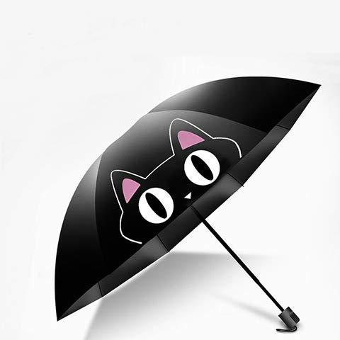 gfjfd Sonnenschutz Faltbarer Sonnenschirm Schwarzer Kunststoff Anti-Uv-Regenschirm Kleiner Schwarzer Regenschirm Weiblicher Regenschirm MIU Süße Katze