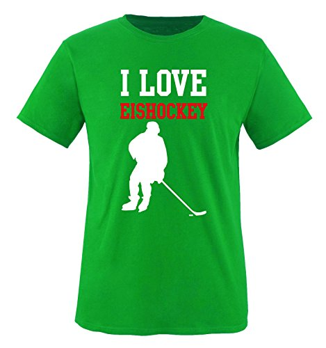 I LOVE EISHOCKEY - Kinder T-Shirt - Grün / Weiss-Rot Gr. 122-128
