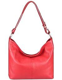 3aa0f7a1f7d41 OBC Made in Italy Damen Echt Leder Tasche Metallic Shopper Hobo-Bags Blumen Schultertasche  Umhängetasche Handtasche Henkeltasche…