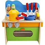 Wooden Pretend Kitchen Cooking Role Play Set Kids Toys Creative Cook's Corner for Boys Girls
