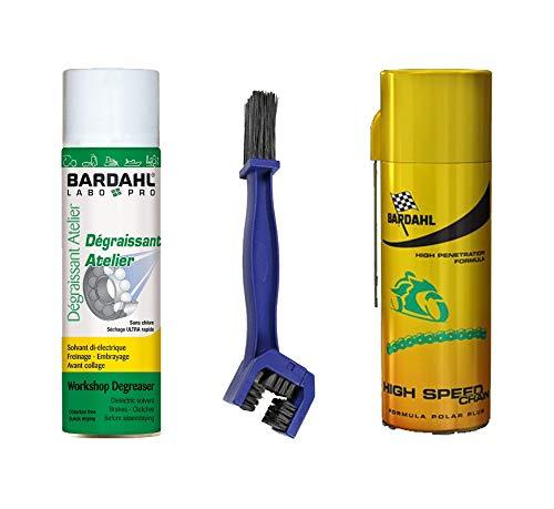 Kit pulizia catena bardahl sgrassante spray + hight speed chain grasso catena + spazzola