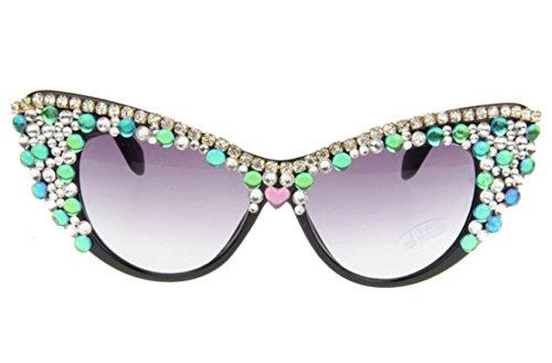 Luxus Exklusiv Handgefertigt Katzenauge Farbiger Kristall Halbrahmen Sonnenbrille,Purple