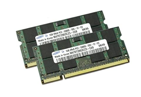 Dual Channel Kit: 2 x 1 GB = 2GB 200 pin DDR2-667 SODIMM (667Mhz, PC2-5300, CL5) 64Mx8 x16 double side, für DDR2 Notebooks - 100% kompatibel zu DDR2-533Mhz, PC2-4200, CL4