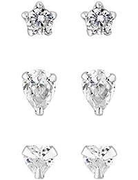 d40ba33e9 Simply Silver Women's Sterling Silver 925 White Cubic Zirconia 3 Pack Heart  And Teardrop Stud Earring