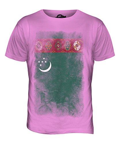 CandyMix Turkmenistan Verblichen Flagge Herren T Shirt Rosa