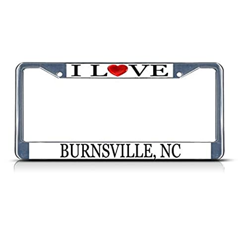 License Plate Frame I Love Heart Burnsville Nc Aluminum Metal License Plate Frame Silver