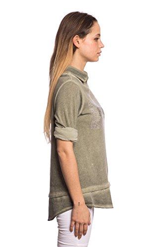 Abbino 8197-10 Shirts Tops - Made in Italy - 8 Farben - Übergang Frühling Sommer Herbst Shirts Fashion Lässig Langarm Baumwolle Süße Sexy Sale Equemer Freizeit Elegant - One size Khaki Grün