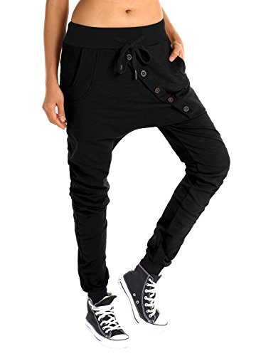 BAISHENGGT Damen Baggy Sweatpants Jogginghose Boyfriend Sports Hose All-Over Print Schwarz M