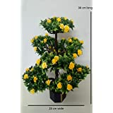 N.Magic Creations Large Artificial Yellow Roses Bonsai Plant With Flowers And Leaves With 7 Big Heads Along With Wooden Pot And Original Feeling Beautiful Rose For Home Decor | Office Decor & Gifting Purpose 38 Cm Long