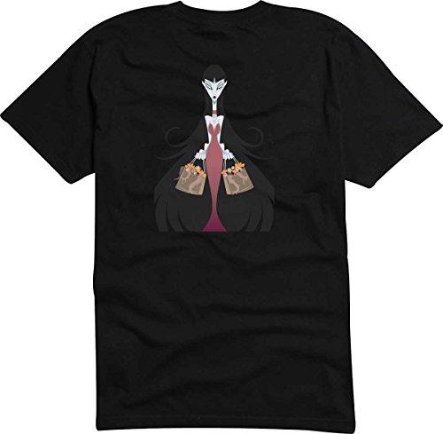 T-Shirt D1029 T-Shirt Herren schwarz mit farbigem Brustaufdruck - gruselige Hexe Mehrfarbig