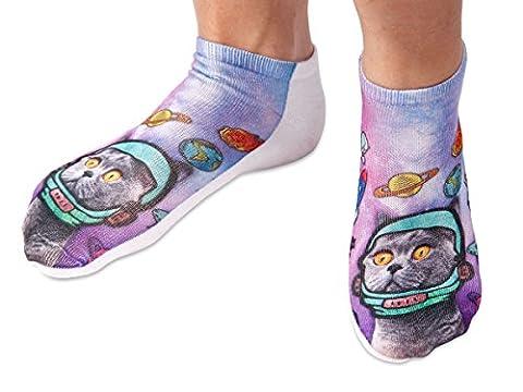 Chaussettes courtes: Socquettes avec motifs Taille: 36 - 39 pour femme ou Ados fille garçon Une petite touche d'humour, d'amour, de tendresse, de fantaisie, et surtout d'originalité, choisir:Katze Space SO-19