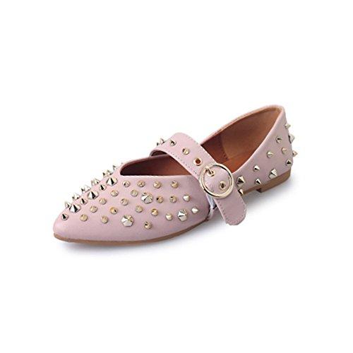 rivet chaussures plates pointues du printemps à l'été/La version coréenne des chaussures plates avec lumière Joker/escoge los zapatos A