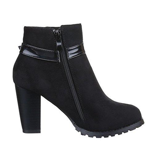 Damen Schuhe, LT-46-1, STIEFELETTEN BOOTS MIT DEKO SCHNALLE Schwarz