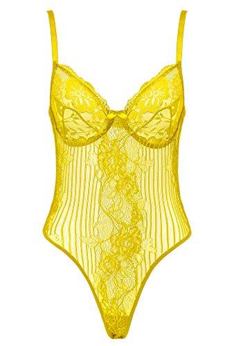 Amorbella Damen Sexy Spitzen-Body, Einteiler, Dessous, Druckknopf-Schritt, Teddy Unterwäsche Gr. L, gelb - 5