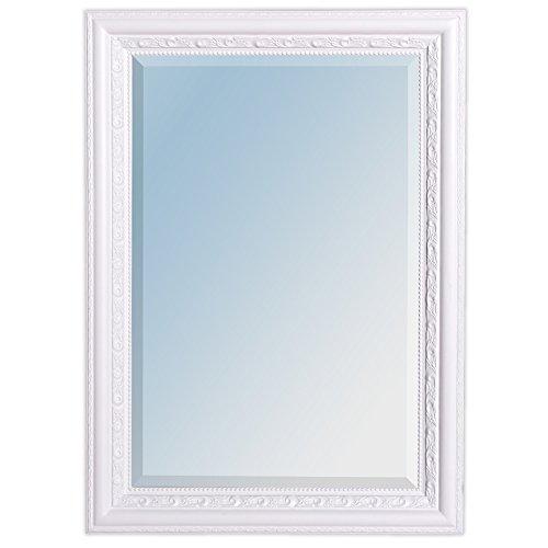 LEBENSwohnART Wandspiegel ARGENTO barock 70x50cm Spiegel Pur-Weiß Holzrahmen und Facette
