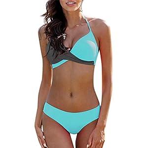 Damen Badebekleidung Bikini Set High Waist Rückenfrei Gepolsterter Push Up BH Patchwork Geteilter Badeanzug Strandkleidung