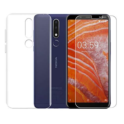 QFSM Funda para Nokia 3.1 Plus Silicona Carcasa TPU Case Cover + 1 Pack HD Película Protectora Cristal Templado para Nokia 3.1 Plus 6.0' -Clear