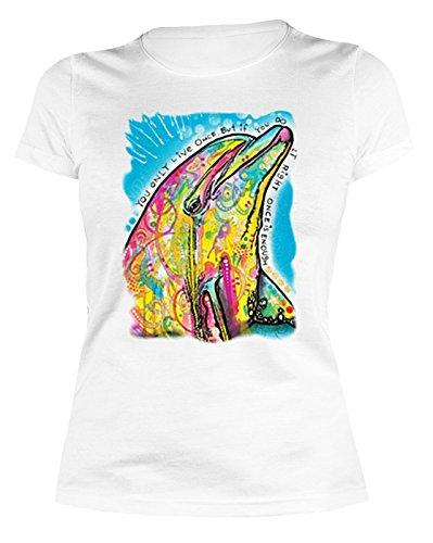 Sexy Gierlie Shirt mit farbenfrohem Motiv: Dolphin, Delfin - Damen Shirt - Farbe: weiss Weiß