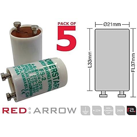 Powerstart FS2 - Lampada fluorescente con condensatore, 4-22, confezione da 5