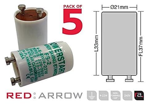Powerstart FS2 et 4–22 W Series Lampe fluorescente avec Condensateur de démarrage (Pack de 5)