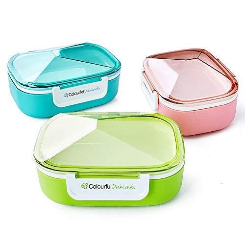 Riutilizzabile lunch box, scatole riutilizzabili bento con 3 scomparti a tenuta stagna contenitori di cibo con stoviglie bpa gratis per la scuola, ufficio,blue