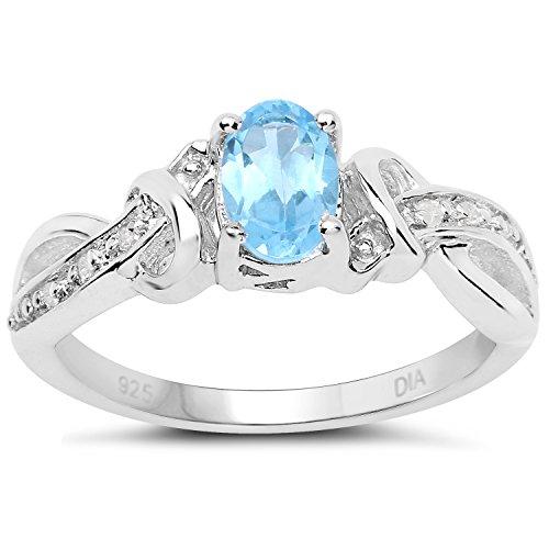 ktion: Sterling Silber Oval Blautopas und Diamant-Verlobungsring mit Cross-over Diamant Set Schultern Ringgröße 58 ()