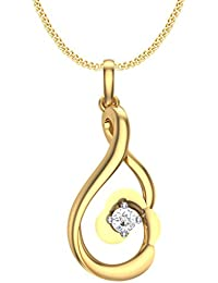 Clara Silvo 18K Gold Plated Sterling Silver Carol Pendant With Chain And Swiss Cubic Zirconia For Women