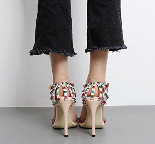 Aisun Damen Bunt Niete Offene Zehe Cut Out Knöchelriemchen Stiletto High Heels Sandale Aprikosenfarben