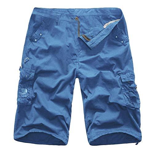KPILP Mountain Shorts 3/4 Cargo Hose Herren Bermudas Kurz Unterhosen Sonnenbrille Strandhosen Shorts Lightning Edition Sturmfeuerzeug Schwarz(Blau,34)