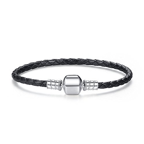 Single black braided leather bracelet fits pandora, bracelets européens compatible (17cm)