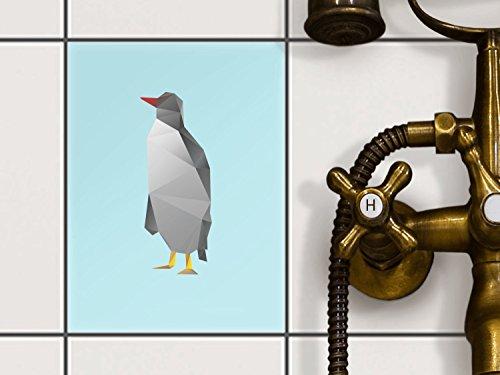 Küche Penguin (Fliesenverkleidung Designfolie | Fliesen Folie Sticker Aufkleber selbstklebend Badezimmer renovieren Küche Baddekoration | 15x20 cm Design Motiv Origami Penguin - 1 Stück)