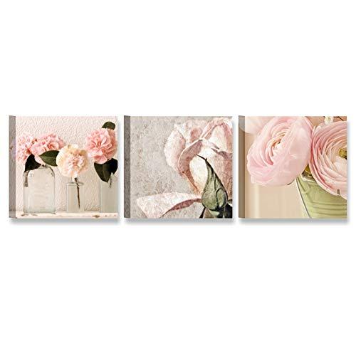 Tris rose shabby chic 2, quadro 3 pannelli moderni 25 x 25 cm stampa su tela canvas MADE IN ITALY | vintage country camera letto, stanza ragazza, soggiorno, salotto, bagno | fiori peonie cipria bianco