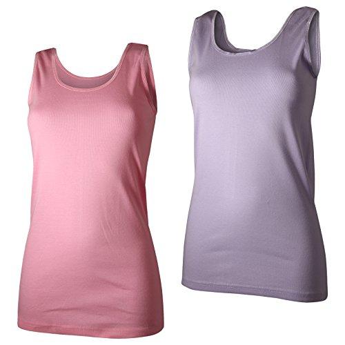 2 Damen Unterhemden Feinripp supergekämmte Baumwolle in tollen Farben rosa/violett