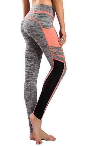 Munvot Herbst/Winter-Kollektion Damen Sport Leggings Hohe Taille Fitnesshose Blickdichte Leggins Glanz Training Tights Strech Yoga Sporthose Strumpfhosen mit Hellorange/Grua XL