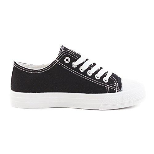 Klassische Unisex Damen Herren Schuhe Low High Top Sneaker Turnschuhe Schwarz