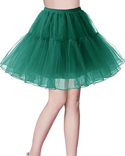 Petticoat Rock 1950er Vintage Tutu Ballett Unterkleid Dark Green M (Billige Tutus Für Frauen)