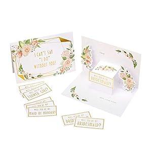 Neviti 775264 Geo - Tarjetas de dama de honor (3 unidades, 14,5 x 10,5 x 0,1 cm), diseño floral, color rosa y dorado