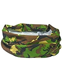 WOODLAND ARMY CAMO / CAMOUFLAGE DESIGN - RUFFNEK® Multifunctional Headwear Neck warmer for Men, Women & Children for camping, military, hunting, camo accessories