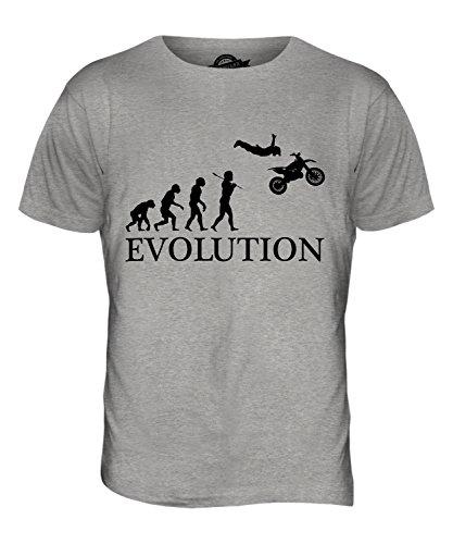 CandyMix Motorrad Stunt Stuntman Evolution Des Menschen Herren T Shirt Grau  Meliert