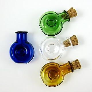 AnagelaKerryAmazonUK 4 x Glass Bottles Cork Mini Stopper Wishing Bottle Pendants Perfume Hand-Blown Small Drift Bottle 4 colors SG1