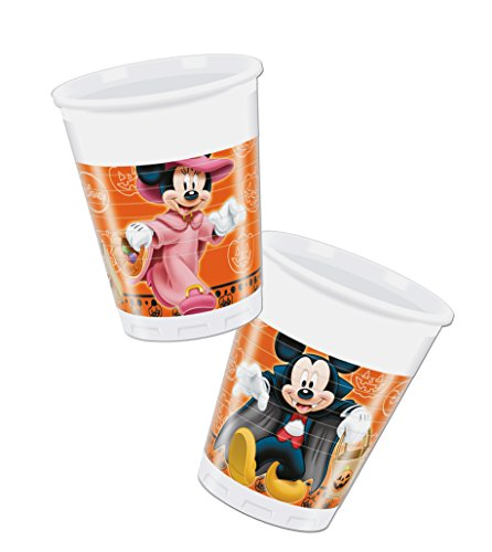 Minnie Dekoration Halloween Mouse (Procos 82355 – Becher Kunststoff Mickey Halloween, 200 ml, 8 Stück,)