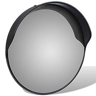 Festnight Verkehrsspiegel Konvex PC-Kunststoff Spiegel Sicherheitsspiegel ?30cm ?berwachungsspiegel Outdoor-Verkehrsspiegel Schwarz