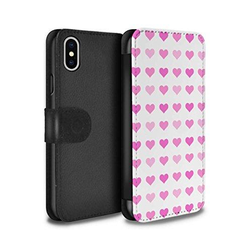Stuff4 Coque/Etui/Housse Cuir PU Case/Cover pour Apple iPhone X/10 / Violet Design / Coeur Amour Pochoir Collection Rose