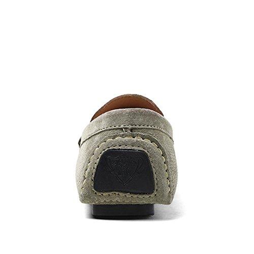 Shenn Uomo Heel Piatto Pelle Scamosciata Mocassini di Guida 8028 Cachi
