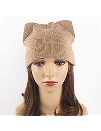 96663020e6cc3 Wagyunfei Sombrero de Orejas de Gato para Mujer Sombrero de Lana Gruesa  Tejido de otoño e Invierno Sombrero para la…