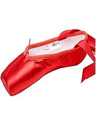 LPZ Scarpe da Danza Classica da Danza Scarpe da Danza Classica con Puntale e Nastri in Vera Pelle per Donne (Colore : Rosso, Dimensioni : 39 EU)
