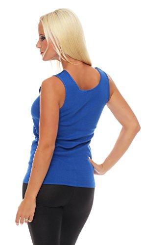 Hochwertiges Damen Träger-Top mit großer Spitze Nr. 416 (Oberteil / Unterhemd / Träger-Shirt) 100% Baumwolle ( Blau / 52/54 ) - 3